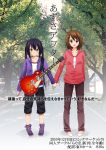 brown_eyes brown_hair electric_guitar guitar guitar_case hand_holding hirasawa_yui holding_hands instrument instrument_case k-on! long_hair nakano_azusa photo_background ragho_no_erika short_hair translation_request twintails