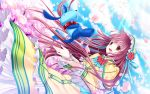 brown_eyes brown_hair cherry_blossoms colored flower flyx2 hanato_kobato hat highres ioryogi kobato. long_hair petals stuffed_animal stuffed_toy
