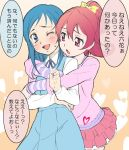 2girls aida_mana blue_eyes blue_hair blush dokidoki!_precure half_updo heart hikari_(mitsu_honey) hishikawa_rikka hug hug_from_behind long_hair multiple_girls pink_eyes pink_hair ponytail precure short_hair smile wink