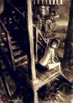 bare_back bare_shoulders black_hair breasts drink from_behind gears highres juice_box light_smile looking_back machine no_shirt original robce_lee sepia short_hair shorts sideboob sitting solo stairs topless