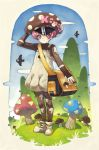bad_id bird copyright_request highres hirokiku mushroom personification