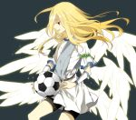 afuro_terumi bad_id ball bike_shorts blonde_hair holding inazuma_eleven inazuma_eleven_(series) kai28 long_hair male multiple_wings red_eyes sash seraph seraphim soccer_ball solo telstar tunic wings zeus_(inazuma_eleven)