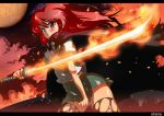 fire panties pantyshot red_eyes red_hair redhead school_uniform serafuku shakugan_no_shana shana sword tashiromotoi thigh-highs thighhighs torn_clothes underwear weapon