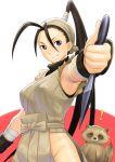 armpits black_hair blue_eyes capcom don_(street_fighter) fingerless_gloves gloves ibuki iyokawa kunai ninja ponytail raccoon street_fighter tanuki weapon