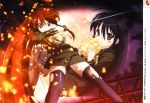 blush bread food fujii_masahiro highres katana melon_bread red_hair school_uniform shakugan_no_shana shana sword thighhighs weapon