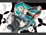 detached_sleeves hatsune_miku instrument keyboard_(instrument) leg_warmers long_hair musical_note open_mouth panties pantyshot record ryo solo star thighhighs twintails underwear upskirt vocaloid white_panties