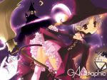 broom cat demon_tail g_munyo gagraphic hat moon night pointy_ears purple_hair red_eyes skirt tail wallpaper witch witch_hat