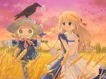 bird bird_on_head crow gagraphic hat kuga_tsukasa outdoors scarecrow sky wallpaper