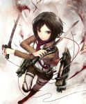 1girl belt black_hair blood boots brown_eyes jacket mikasa_ackerman scarf shingeki_no_kyojin short_hair shorts shouin solo sword three-dimensional_maneuver_gear weapon