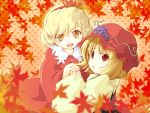 aki_minoriko aki_shizuha autumn blonde_hair food fruit grapes hat highres leaf leaf_on_head multiple_girls paji red_eyes short_hair siblings sisters touhou wallpaper yellow_eyes