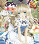 alice_in_wonderland apron ayuayu bangs blonde_hair blue_eyes blunt_bangs blush bow card cards clock dress drill_hair falling_card flower hair_bow long_hair marker_(medium) mushroom playing_card playing_cards sample traditional_media waist_apron
