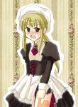 bad_id blonde_hair blush brown_eyes corset evergreen_(kate) maid ponytail umineko_no_naku_koro_ni ushiromiya_lion yasu_(umineko)