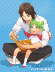 1boy 1girl black_hair father_and_daughter green_hair icym koiwai_yotsuba mr_koiwai quad_tails reading sitting sitting_on_lap sitting_on_person yotsubato!