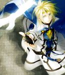 bird blonde_hair cape circlet fingerless_gloves foreshortening gloves green_eyes guilty_gear ky ky_kiske looking_up maka_(morphine) male solo