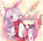 breasts bunny_ears cream_(eto_ranger) highres juuni_senshi_bakuretsu_eto_ranger north_abyssor open_mouth pointing purple_hair rabbit_ears red_eyes small_breasts teen wand wince wink
