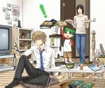 ! 1girl 2boys black_hair book bottle box brown_hair duralumin food fried_rice glass green_hair highres koiwai_yotsuba mr_koiwai multiple_boys necktie phone photo_(object) quad_tails shakuchi smartphone stuffed_animal stuffed_toy tea teddy_bear television yanda yotsubato!