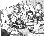 2boys arisato_minato book casual couch crossed_ankles female_protagonist_(persona_3) jack_frost lovechro monochrome multiple_boys persona persona_3 persona_3_portable pharos playstation_portable pyro_jack shared_headphones thighhighs