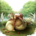 blanche_neige boots bow cape chocobo closed_eyes detached_sleeves elbow_gloves eyes_closed female final_fantasy final_fantasy_vi fingerless_gloves food fruit gloves green_hair long_hair lying moogle pantyhose ponytail sleeping thigh-highs tina_branford tree
