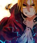 blonde_hair braid coat edward_elric energy fullmetal_alchemist gloves grin hands hood light male open_clothes open_coat ponytail smile solo teeth white_gloves yellow_eyes yomimatigai