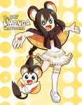 :d black_eyes black_hair emolga emonga emonga_(cosplay) frills hora_(hora06) moemon open_mouth outstretched_arms personification pokemon scarf smile spread_arms