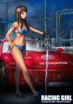 bikini blue_eyes bracelet breasts brown_hair car chainlink_fence cleavage fence ferrari fingerless_gloves flower gloves hair_flower hair_ornament high_heels jewelry lapucelle_(arasoo1210) lapucelle_(artist) long_hair motor_vehicle navel race_queen racequeen shiny shiny_skin shoes side-tie_bikini sideboob single_glove solo swimsuit tattoo umbrella vehicle