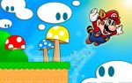 clouds mario mario_bros. mushroom nintendo raccoon_ears raccoon_tail star super_mario_bros super_mario_bros.