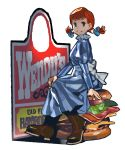 1girl apron blue_eyes boots dress food freckles hamburger mascot product_placement red_hair redhead sarmat sign sitting smile twintails wendy's wendy_(wendy's)