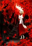 acryl animal_ears autumn bad_id barefoot detached_sleeves hat highres inubashiri_momiji leaf maple_leaf red_eyes short_hair solo stairs tail tokin_hat touhou tree white_hair wolf_ears wolf_tail