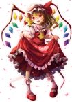 1girl ascot blonde_hair dress dress_lift flandre_scarlet hat long_hair mikkii open_mouth petals red_dress red_eyes side_ponytail solo touhou white_background wings