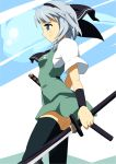 1girl black_legwear blue_eyes dual_wielding hair_ribbon konpaku_youmu ribbon shin'ya_(nanp) silver_hair solo thigh-highs touhou