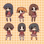 azumanga_daiou black_eyes black_hair brown_hair chibi child fushigi_ebi glasses highres kagura kasuga_ayumu long_hair long_sleeves mihama_chiyo mizuhara_koyomi multiple_girls open_mouth orange_hair ribbon sakaki school_uniform serafuku short_hair skirt socks takino_tomo thighhighs twintails