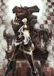 black_gold_saw black_hair black_rock_shooter boots crossed_legs horns legs_crossed long_hair midriff red_eyes sail_(artist) shorts sitting solo thighhighs