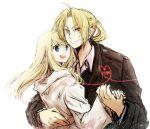 1girl bad_id blonde_hair blue_eyes braid couple edward_elric fullmetal_alchemist heart heart_of_string hug jacket long_hair open_mouth ponytail smile tsukuda0310 winry_rockbell yellow_eyes