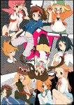 4boys 6+girls akane_(pokemon) bel_(pokemon) black_hair black_legwear blonde_hair blush bow brown_hair cheren_(pokemon) double_bun female_protagonist_(pokemon_xy) glasses hat hat_bow highres holding holding_poke_ball jewelry kasumi_(pokemon) kyouhei_(pokemon) long_hair male_protagonist_(pokemon_xy) mei_(pokemon) mikan_(pokemon) multiple_boys multiple_girls nakamura_sandayo necklace ookido_green open_clothes open_jacket orange_hair pleated_skirt poke_ball pokemon pokemon_(game) pokemon_bw2 pokemon_hgss pokemon_xy shorts sitting sitting_on_person skirt sunglasses sunglasses_on_head thigh-highs twintails visor_cap wink