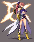 armor bare_shoulders boots breasts center_opening choker fingerless_gloves fire gauntlets gloves glowing hair_ornament high_heels large_breasts legs leotard levantine long_hair long_legs lyrical_nanoha magical_girl mahou_shoujo_lyrical_nanoha mahou_shoujo_lyrical_nanoha_a's mahou_shoujo_lyrical_nanoha_a's mahou_shoujo_lyrical_nanoha_strikers nekomamire pink_hair ponytail purple_eyes red_hair redhead shadow shoes signum simple_background skirt standing underboob unison very_long_hair weapon wings