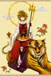 absurdres blonde_hair emerane hair_ornament highres jeweled_pagoda merutoreimu multicolored_hair polearm short_hair solo tiger toramaru_shou touhou weapon wheel yellow_eyes