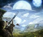 fantasy gun landscape moon original planet rabbit riding scenery sky solo star star_(sky) vanipo weapon