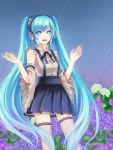 bad_id blue_eyes blue_hair bowtie detached_sleeves flower hatsune_miku headphones highres hydrangea lips long_hair momori promotions rain scrunchie skirt solo star star-shaped_pupils symbol-shaped_pupils thigh-highs thighhighs twintails very_long_hair vocaloid zettai_ryouiki