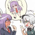 2girls @_@ animal_ears blush bunny_ears clenched_hand fist hairband konpaku_youmu long_hair multiple_girls necktie open_mouth panties panty_&_stocking_with_garterbelt purple_hair reisen_udongein_inaba ringed_eyes short_hair silver_hair speech_bubble touhou translated translation_request tsukigi underwear undressing