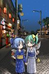 ? animal_ears blue_eyes blue_hair bow cat_ears cat_tail chen child cirno contemporary daiyousei eye_contact festival fox_tail green_eyes green_hair hair_bow hand_holding hands_in_sleeves holding_hands japanese_clothes kimono lamppost looking_at_another multiple_girls multiple_tails night night_sky obi outdoors patchouli_knowledge popsicle pouch side_ponytail sixten sky smile suika_bar tail touhou watermelon_bar wings yakumo_ran yukata ⑨