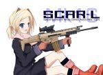 5.56x45mm_nato bettou_izumi-shizuka_scarlett blonde_hair blue_eyes boots fabrique_nationale female fn_scar gloves gun pun raincoat rifle scar-l scarf scarlett scope trigger_discipline twintails typo usmc@troy vertical_foregrip weapon