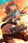1girl boots brown_eyes brown_hair cable coin electricity emblem hair_ornament hairclip highres jacket looking_at_viewer michairu mikasa_ackerman mikasa_ackerman_(cosplay) misaka_mikoto pants scarf shingeki_no_kyojin short_hair sky solo sword thigh_strap to_aru_kagaku_no_railgun to_aru_majutsu_no_index weapon