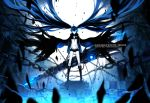 bikini_top black_hair black_rock_shooter black_rock_shooter_(character) blue_eyes boots chain chains cloak front-tie_top glowing glowing_eyes long_hair long_sleeves myhilary scar short_shorts shorts solo star twintails very_long_hair