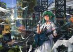 1girl bird cityscape dlkdhy dove dress gloves green_eyes green_hair guitar instrument long_hair microphone microphone_stand original wink