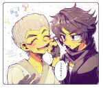 2boys black_eyes black_hair cheek_pull closed_eyes cole_(ninjago) eyebrows fingerless_gloves gloves hair_over_one_eye japanese_clothes multiple_boys ninjago open_mouth short_hair silver_hair spiky_hair thick_eyebrows turtleneck zane_(ninjago)