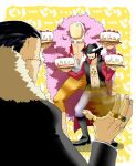 3boys black_hair blonde_hair cake devil_fruit donquixote_doflamingo dracule_mihawk faceless facial_hair food fruit goatee hat in_the_face jacket jewelry male multiple_boys muscle mustache necklace no_face one_piece open_clothes open_jacket open_shirt pie_in_face pirate ring rings sand scar shichibukai short_hair simple_background sir_crocodile standing strawberries strawberry yui_(kari)
