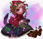 fang flower grimm's_fairy_tales little_red_riding_hood little_red_riding_hood_(grimm) mushroom plant ryouga_(fm59) sitting surreal vines wink wolf