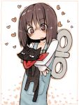 1girl @_@ black_cat blush brown_hair cat flat_gaze heart holding_animal hug hug_from_behind masha nichijou open_mouth overalls pink_eyes sakamoto_(nichijou) scarf shinonome_nano short_hair sweatdrop winding_key