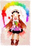 blonde_hair bowtie dahlia_(rune_factory) hat highres pink_background pointy_ears rainbow rainbow_order rune_factory rune_factory_3 solo