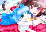 bare_shoulders blue_eyes blue_hair bow brown_hair cheek_squash cirno cloud clouds detached_sleeves flying foreshortening friends grin hair_bow hakurei_reimu hand_on_another's_cheek hand_on_another's_face hand_on_cheek hug long_hair multiple_girls open_mouth puffy_cheeks red_eyes short_hair smile touhou yamada_ranga